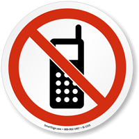 No Cell Phones Symbol ISO Prohibition Circular Sign