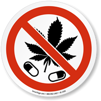 No Drugs Marijuana Leaf ISO Sign