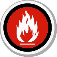 No Flammable Material Symbol ISO Circle Sign