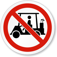 No Golf Cart Symbol ISO Prohibition Circular Sign