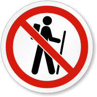 No Hiking Symbol ISO Prohibition Circular Sign