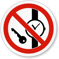 No Metallic Articles Watches ISO Sign