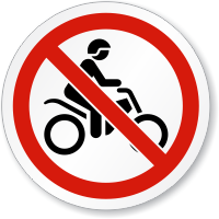 No Motorbikes ISO Prohibition Sign