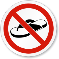 No Open Toed Footwear ISO Sign