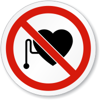 No Pacemakers Wearer Symbol ISO Circle Sign