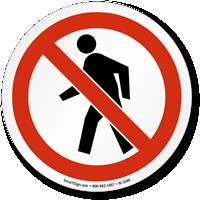 No Pedestrians ISO Circle Sign