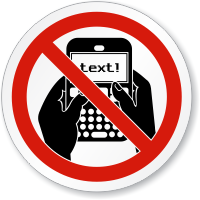 No Texting Symbol ISO Prohibition Circular Sign