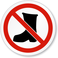 No Work Boots Beyond This Point ISO Sign