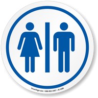 Restrooms Symbol ISO Circle Sign