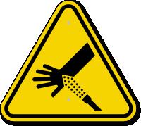 ISO Skin Puncture, Water Jet Symbol Warning Sign