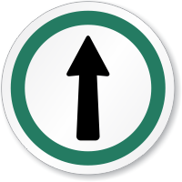 This Way Out Symbol ISO Circle Sign
