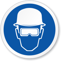 Head And Eye Protection Required ISO Sign