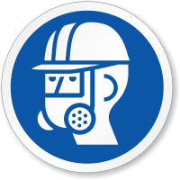 Wear Full Face Respirator, Head Protection ISO Sign