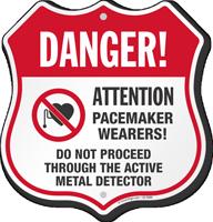 Active Metal Detector Pacemaker Wearers Shield Sign