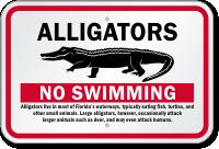 Alligators No Swimming Sign
