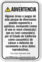 Custom Amusement Park Exposure Spanish Prop 65 Sign