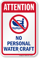 Attention No Personal Water Craft Sign