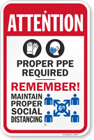 Attention Proper PPE Required Remember Sign