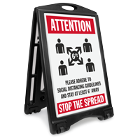 Attention Adhere to Social Distancing Guidelines Stop the Spread BigBoss A-Frame Portable Sidewalk Sign