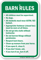 Barn Rules Horse Safety Sign