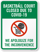 Basketball Court Closed Due To The Outbreak Sign