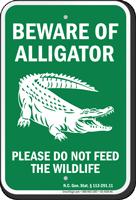 Beware of Alligator, North Carolina Alligator Warning Sign