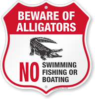 Beware Of Alligators Shield Sign