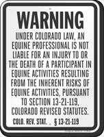 Colorado Equine Liability Sign