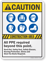 Construction Area All PPE Required Caution Sign