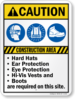 Construction Area Ear Eye Protection Required Sign