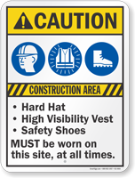 Construction Area Hard Hat Vest Safety Shoes Sign