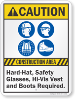 Construction Area Safety Glasses Vest Required Sign