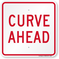 Curve Ahead, Railroad Safety Sign