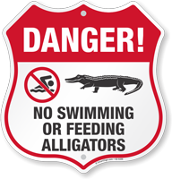 Danger No Swimming Or Feeding Alligators Shield Sign