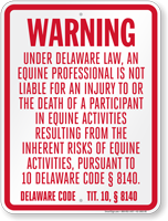 Delaware Equine Liability Sign