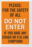 Do Not Enter If You Have Flu Symptoms Sign