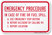 Fire Emergency Procedure, In Case Of Fire Sign