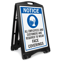Employees Customers Are Required To Wear Face Coverings Sidewalk Sign
