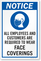 Employees Customers Are Required To Wear Face Coverings Sign Panel