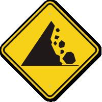Falling Mountain Rocks Symbol Road Warning Sign