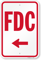 FDC (With Left Arrow) Fire and Emergency Sign