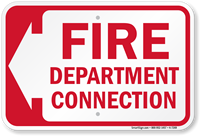 Fire Department Connection (With Left Arrow) Sign