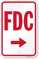 FDC (With Right Arrow) Fire and Emergency Sign