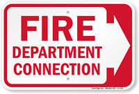 Fire Department Connection (With Right Arrow) Sign
