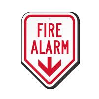 Fire Alarm Sign With Down Arrow