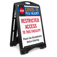 Flu Alert Restricted Access To This Facility Sidewalk Sign