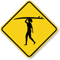 Girl Surfer Symbol Crossing Sign