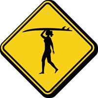 Girl Surfer Symbol Crossing Sign