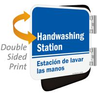 Handwashing Station Bilingual Double Sided Sign