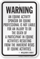Hawaii Equine Liability Sign
